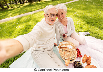 senior couple taking selfie at picnic in park