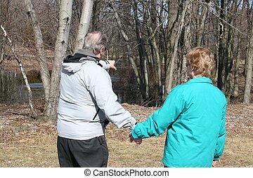 Senior couple Taking walk
