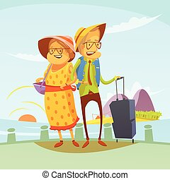 Senior Couple Traveling Illustration