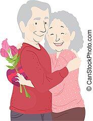 Senior Couple Valentines Hug Flowers Chocolates