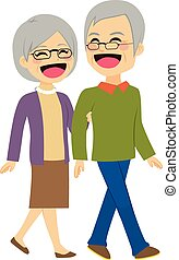 Senior Couple Walking - Lovely senior couple laughing and...