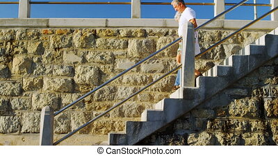 Senior couple walking downstairs near beach 4k