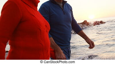 Senior couple walking hand in hand in the beach 4k