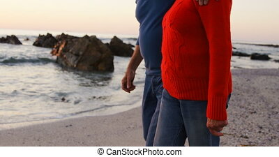 Senior couple walking hand in hand in the beach 4k