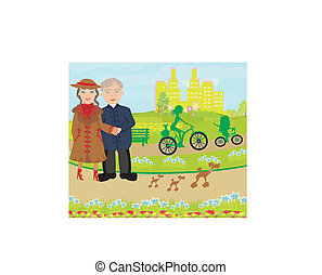 Senior couple walking in sunny day with dogs