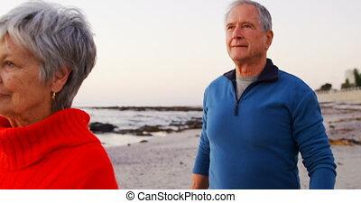Senior couple walking in the beach 4k