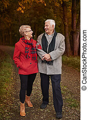 Senior couple walking in the woodland