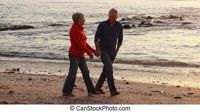 Senior couple walking on beach 4k
