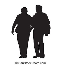 Senior couple walking together, isolated vector silhouette. Old people