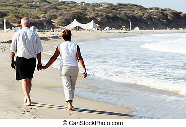 senior couple walking together on a
