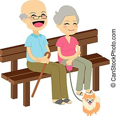 Senior Couple With Dog - Cute senior couple sitting on...