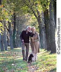 Senior couple with dog in forest in autumn
