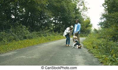 Senior couple with dog on a walk in green summer nature