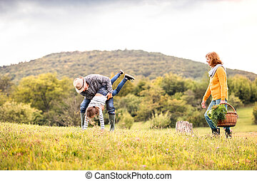 Senior couple with grandaughter in nature. Small girl having...