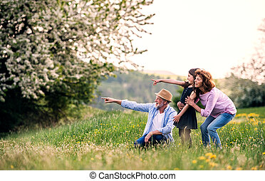 Senior couple with granddaughter outside in spring nature, pointing finger at something.