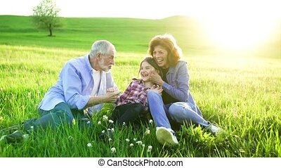 Senior couple with granddaughter sitting outside in spring...