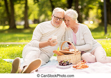 senior couple with smartphone at picnic in park