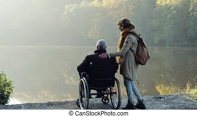 Senior couple with wheelchair in autumn nature. - Active...