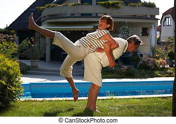 Senior couple workout - Happy senior couple doing workout ...