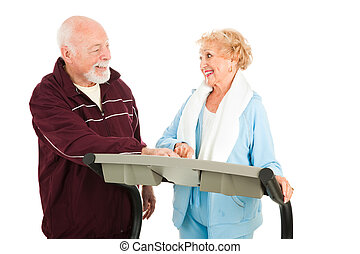 Senior Couple Works Out