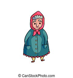 Senior cute old woman in blue coat with hands in pocket