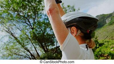 Senior cyclist exercising at countryside 4k - Active senior ...