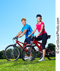 senior, cyclist., paar, vrolijke