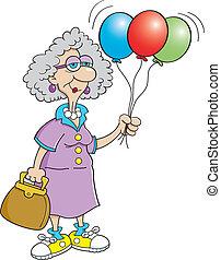 senior, dam, balloon, holdingen, medborgare