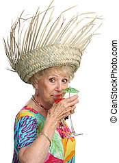 senior, dame, cocktail, slokjes
