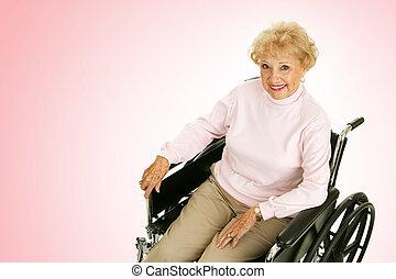 senior, dame, ind, wheelchair, lyserød