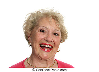 senior, dame, lachen