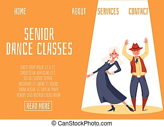 Senior dance classes site mockup with elderly couple flat vector illustration.