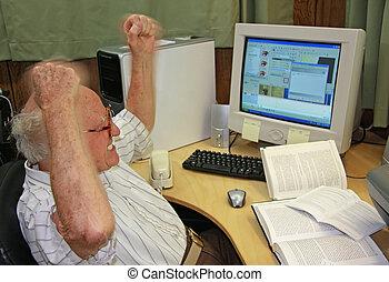 senior, dator, frustrerat