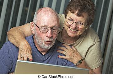 senior, dator, laptop, vuxna