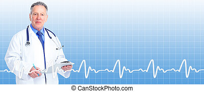 Senior doctor cardiologist. Health care banner background.