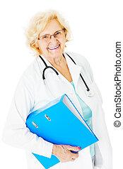 Senior Doctor Holding Ring Binder Over White Background