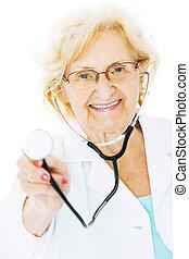 Senior Doctor Holding Stethoscope Over White Background