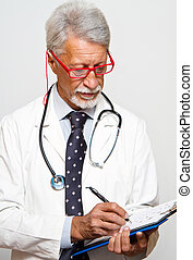 senior doctor on white background