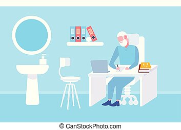 senior doctor sitting at table workplace using laptop and writing prescription modern clinic office interior medicine and healthcare concept full length flat horizontal