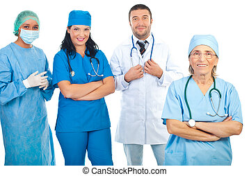 Senior doctor with young team of doctors