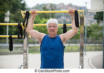 Senior doing physical activity