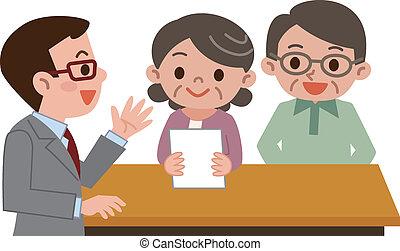 senior, dokumenty, para, przedkładać