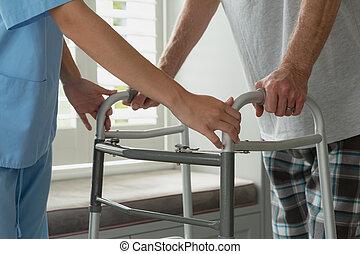 senior, dom, czynny, samiczy doktor, piechur, człowiek, chód, porcja