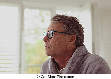 senior, dom, czynny, wygodny, patrząc, człowiek, precz