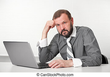 senior, draagbare computer, werkende , zakenmens