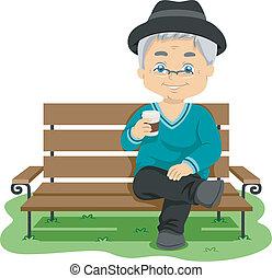 Senior Drink - Illustration Featuring an Elderly Man...