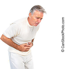 stomach pain - Senior elderly man having stomach pain....