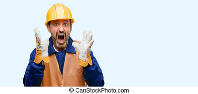 Senior engineer man, construction worker stressful keeping hands on head, terrified in panic, shouting