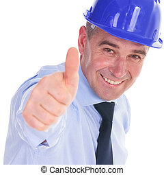 senior engineer showing you the thumbs up ok sign