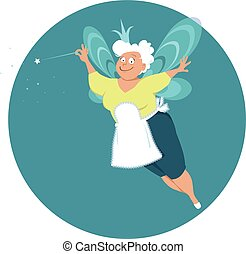 senior fairy - Modern fairy godmother or grandma with wings ...